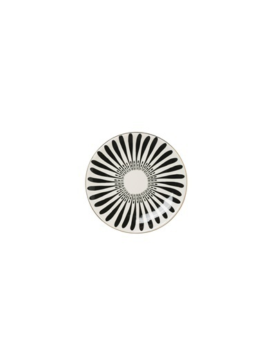Warm Design Porselen Siyah Desenli Tabak Renkli